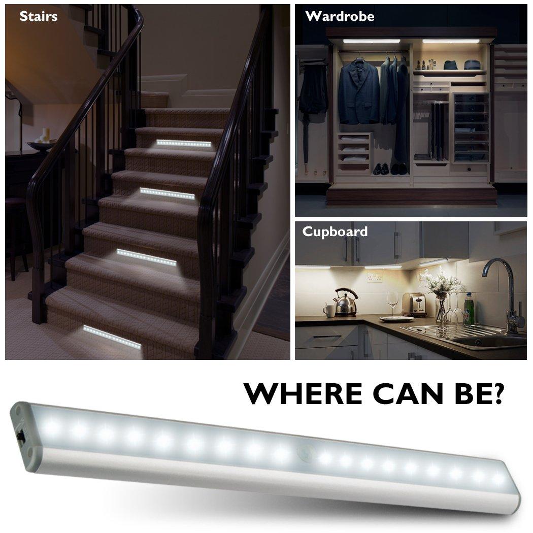 Kitchen Closet Under Cabinet Stick On 18 Led Motion Sensor: Under Cabinet Lights Closet Lights Motion Sensor 18 LEDs