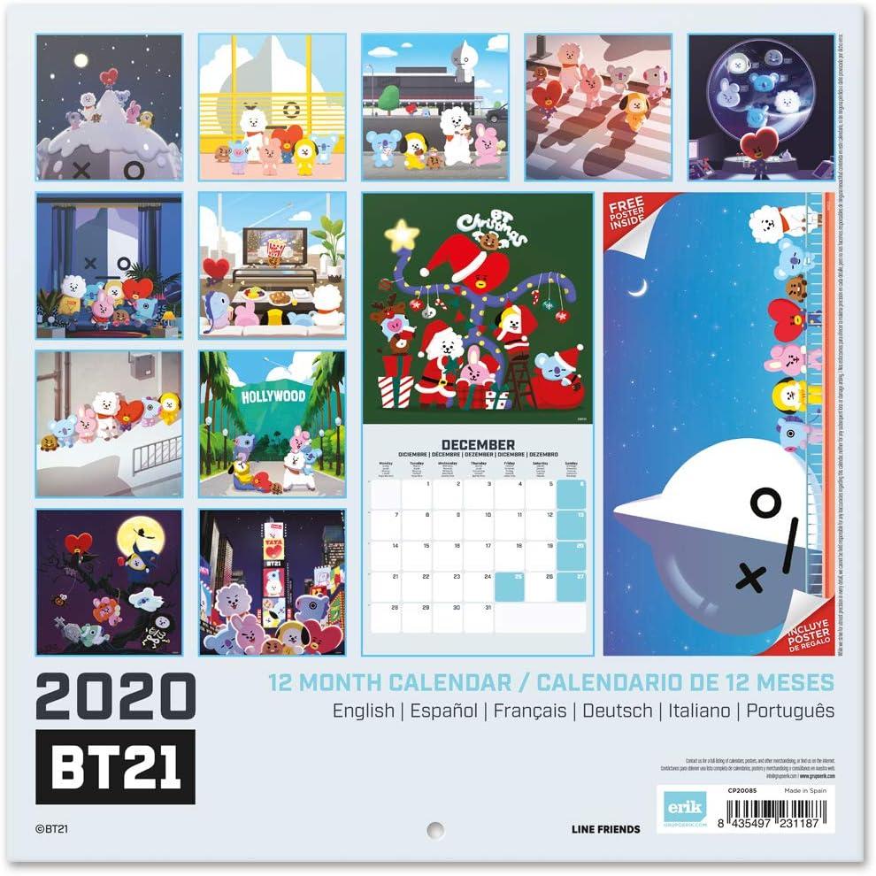ERIK/® BT21 Wandkalender//Brosch/ürenkalender 2020 30x30cm aufgeklappt 30x60cm im Hochformat