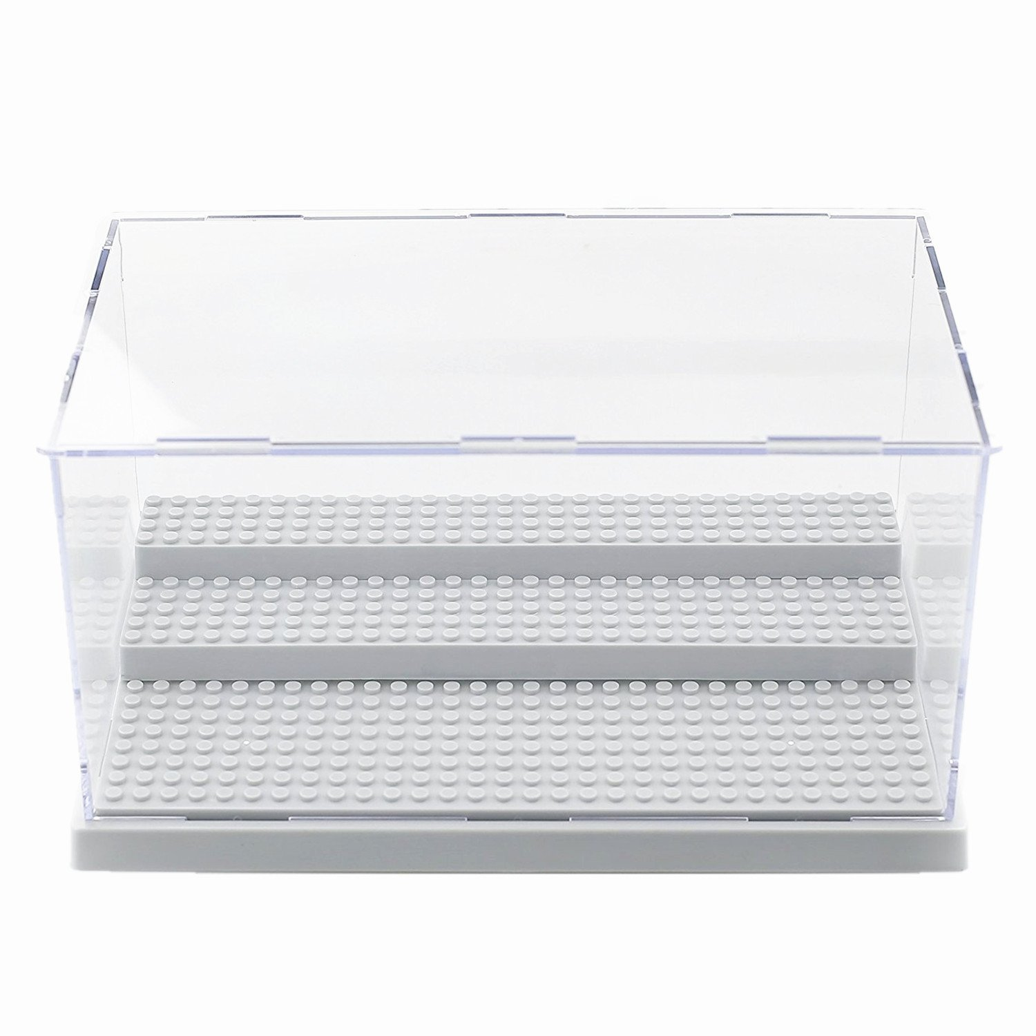 Acrylic Display Case/Box Show Case for Lego Minifigure with 3 Steps (Gray Base) VN STORE