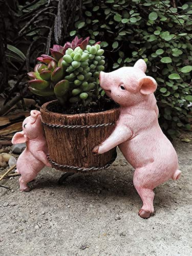 Mini Resin Pig Fairy Garden Plant Pots Bonsai Miniature Figurine Micro Landscape – Small Baby Piglet Ornament Pig with Pot