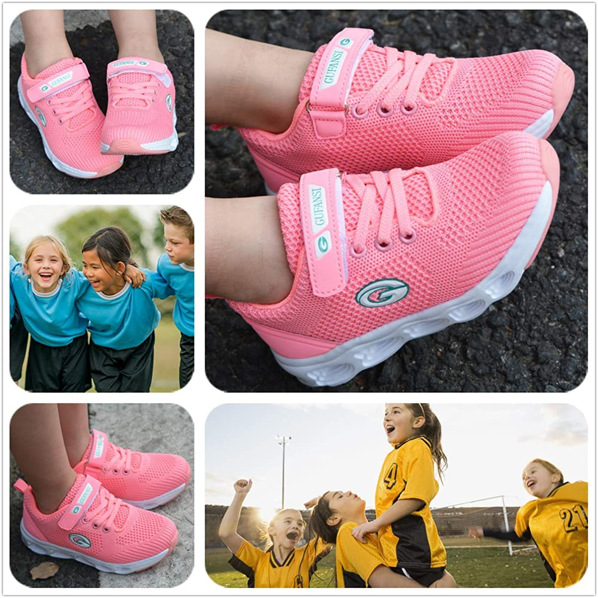 Girls Indoor Outdoor Shoes Size 4 UK Trainers Little Kid Sneakers Child Trainers Sports Jogging Road Running Walking Shoes Stylish Mesh Velcro Comfort Flat Classic Easy Shoes Unisex Pink