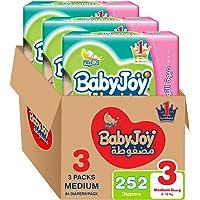 BabyJoy Compressed Diamond Pad, Size 3, Medium, 6-12 kg, Giant Box, 252 Diapers