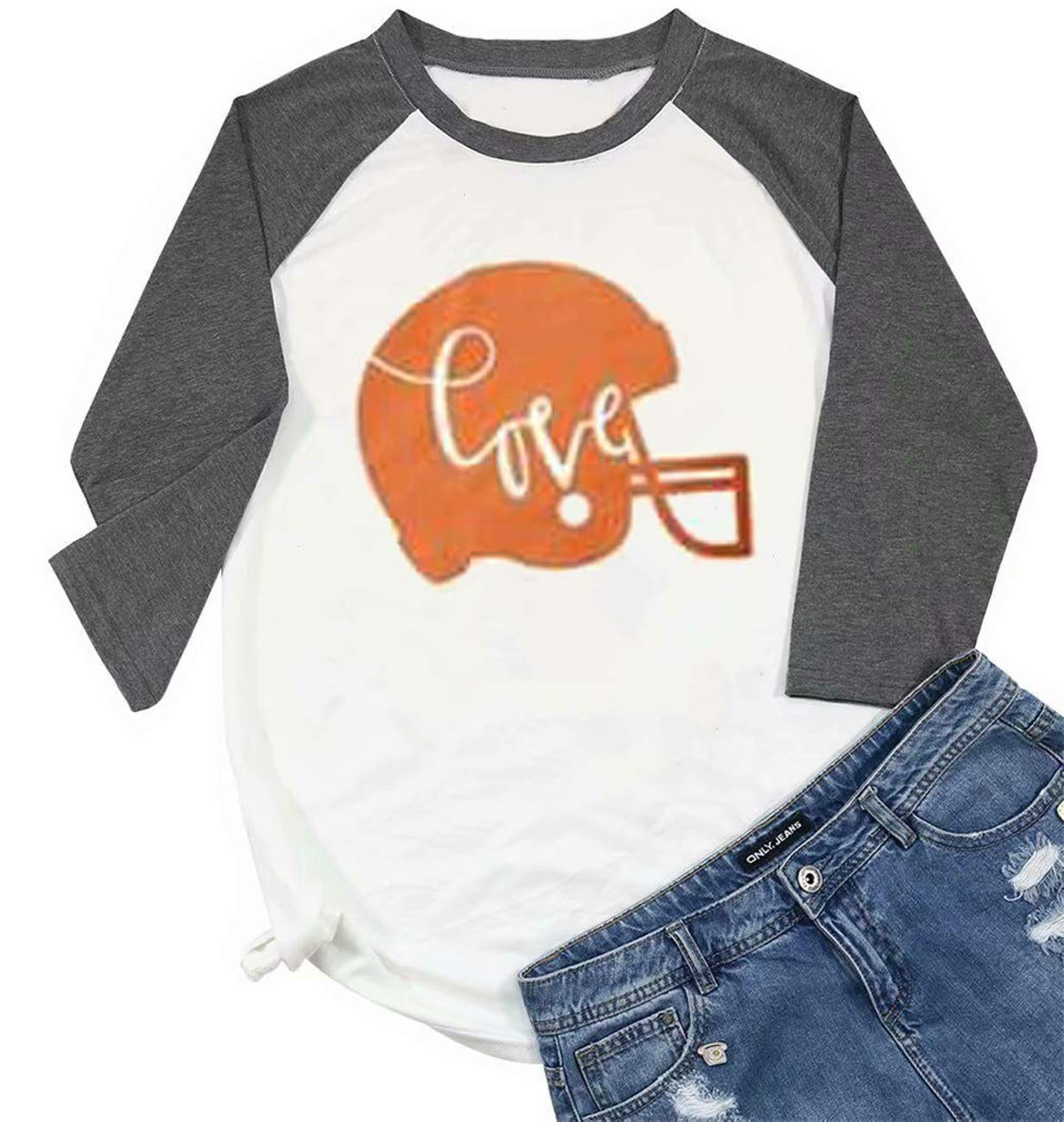 Love Football Funny Helmet Printed T Shirt Women 3/4 Sleeve Raglan Baseball Tees Top Size XXL (White)