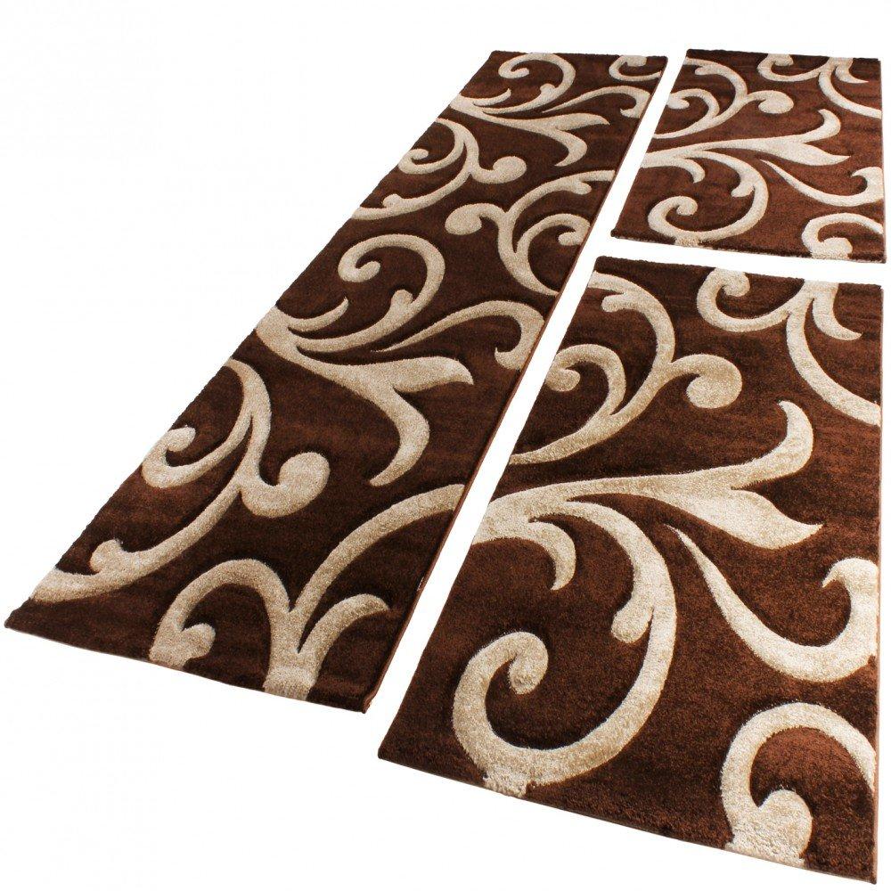 PHC Bettumrandung Läufer Teppich Ranken Muster Barock Braun Beige Läuferset 3 Tlg, Grösse 2mal 60x110 1mal 80x300