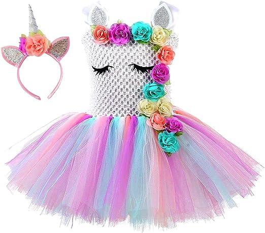 Vestido tutú de unicornio de princesa, color arcoíris para niñas ...