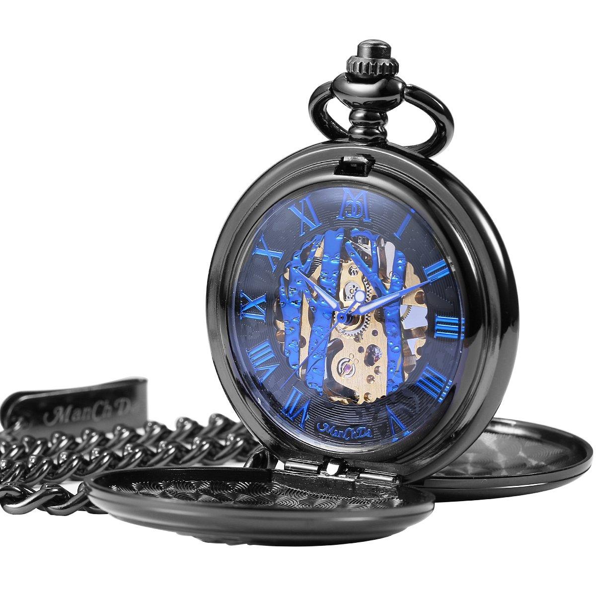 ManChDa Vintage Reindeer Pocket Watch Black Hollow Case Double Open Skeleton Mechanical for Men Women