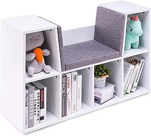 YOUDENOVA 6-Cubby Kids Bookcases Bedroom Storage Organizer, Decoration Multi-Purpose Organizer Cabinet Shelf, w/Cushioned Reading Nook (White)