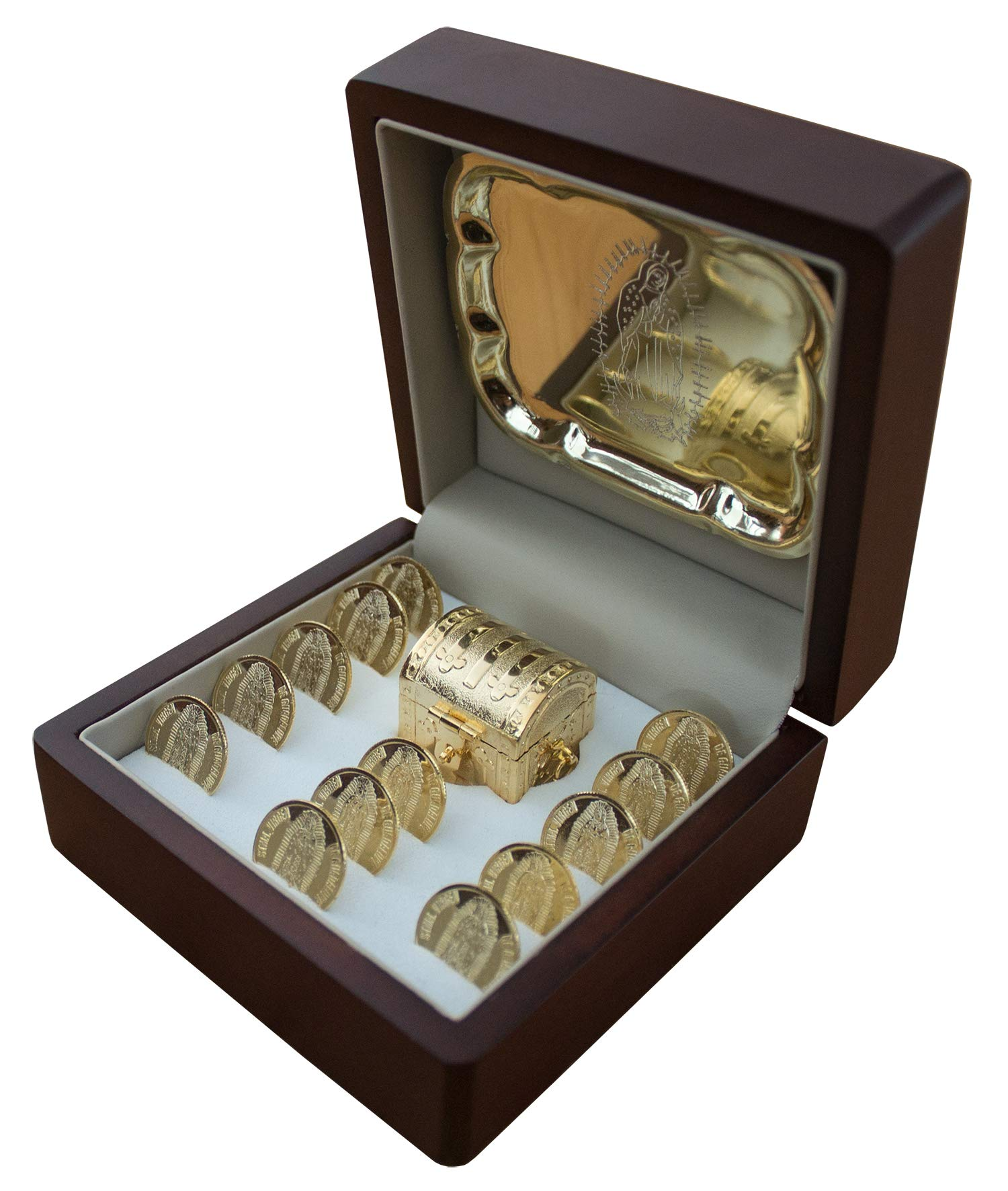 Premium Arras de Boda catholic wedding coins with La Virgen on Wooden Box ultra unity coins or arras de matrimonio golden with our lady of guadalupe and golden tray and miniature chestbox