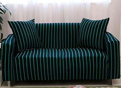 Pleasing Chezmax Striped Pattern Soft Cotton Fabric Sofa Cover 1 Piece Thicken Strenched Love Seat Sofa Slipcovers Blue Green Ncnpc Chair Design For Home Ncnpcorg