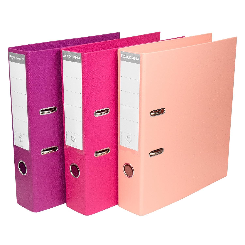 Pack de 3 color rosa tonos A4/Archivadores De Palanca 70/mm almacenamiento de papel archivo Documento Legal carpetas