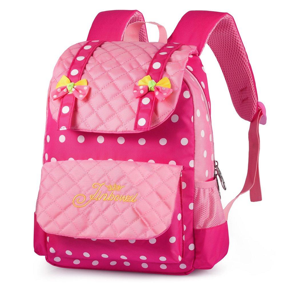 Vbiger Kinder Rucksack Mädchen 5-9 Jahre Schulrucksack Schultaschen für Mädchen (Rot+rosa)
