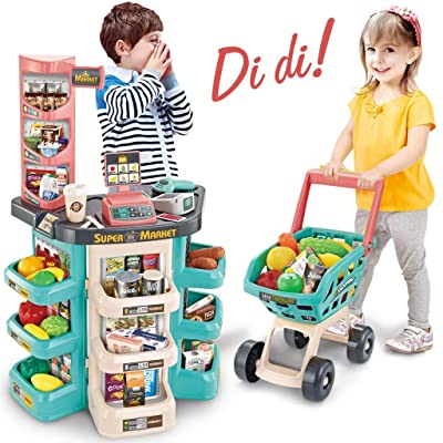Supermarket Scanner- Kids Shopping Play Pretend with Trolley Toy Set, Shopping Cart Grocery Store Playset with Working Scanner Workbench Food Items – Green: Toys & Games