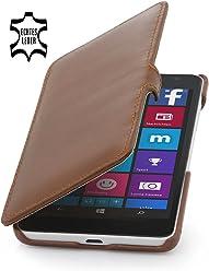 StilGut® Book Type Case con clip, custodia in vera pelle a libro per Microsoft Lumia 535, cognac