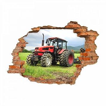 nikima - 047 Wandtattoo Traktor - Loch in der Wand Trecker auf Wiese ...