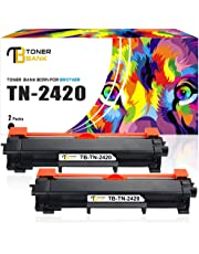 Toner Bank 2 Pack Compatible for TN2420 TN-2420 B2420P for Brother HL-L2350DW MFC-L2710DW HL-L2370DN DCP-L2510D DCP-L2530DW MFC L2750DW HL L2375DW L2310D MFC-L2710DN MFC-L2730DW DCP-L2550DN, With Chip