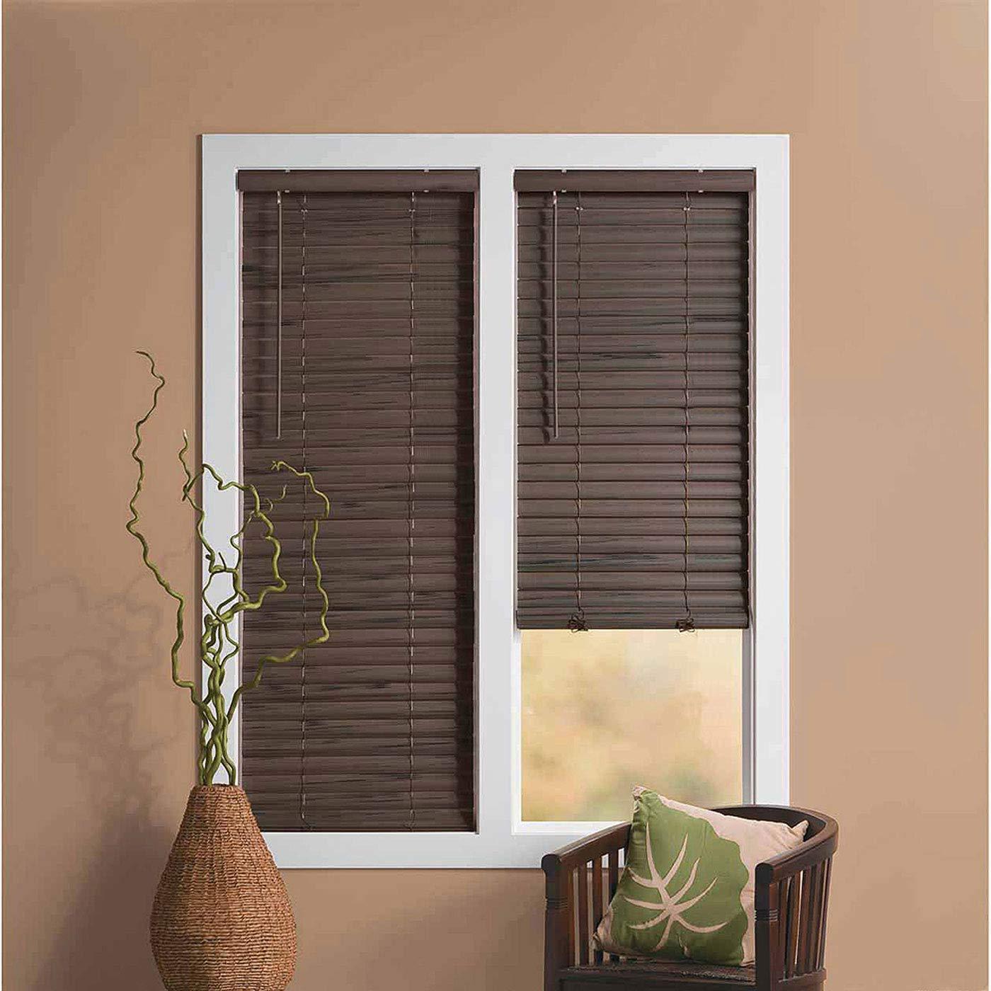 PowerSellerUSA Cordless Window Blinds, 2'' Slats Vinyl Mini Blind, Premium Quality Embossed Woodgrain, Anti-UV Window Treatment, Mahogany, 33'' Width x 64'' Length, (Fits Windows 18'' - 72'') by PowerSellerUSA