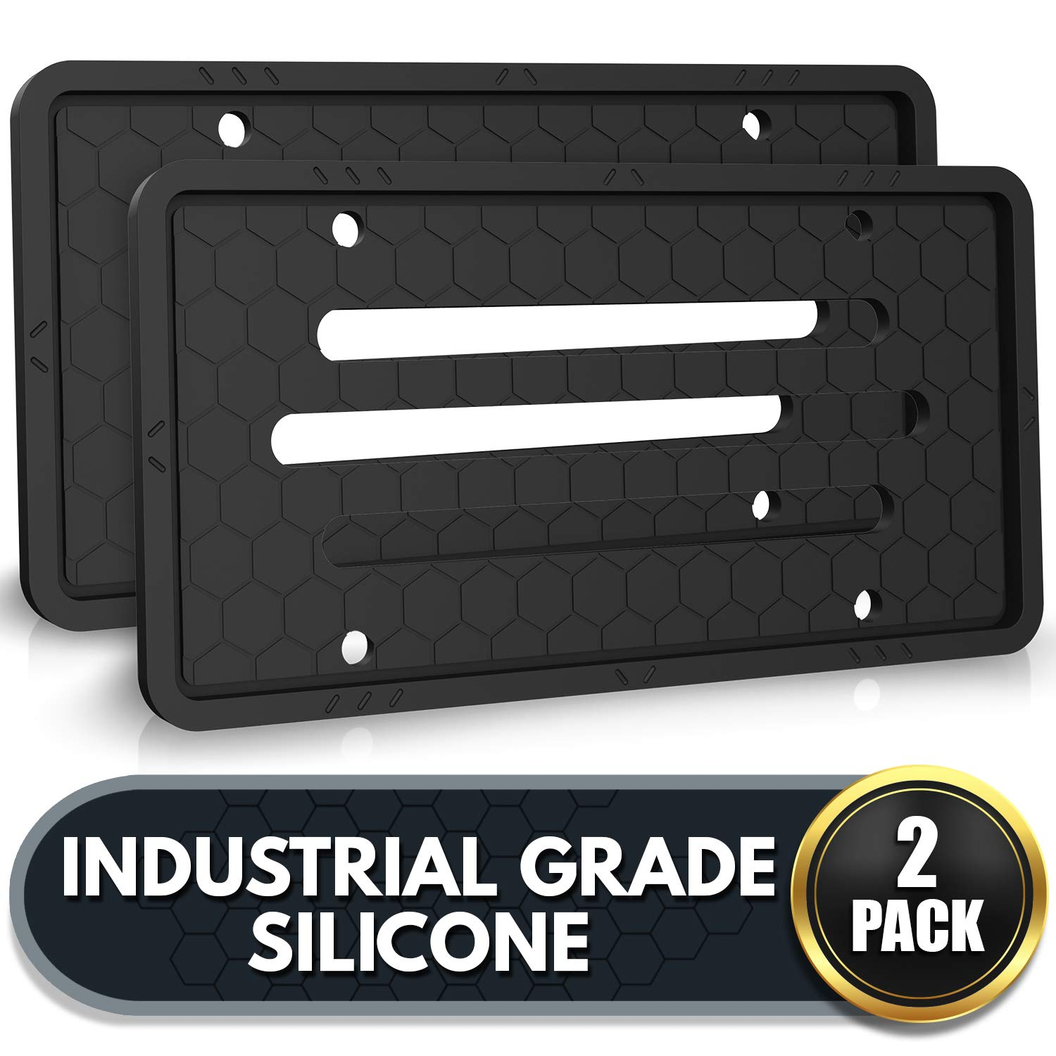 Rattle-Proof Flawless Industrial Grade Silicone License Plate Holder Black Set of 2 Weatherproof and Rust-Proof Black Silicone License Plate Frames License Plate Frame 2 Pack Scratch Free