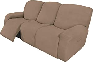 Easy-Going 8 Pieces Recliner Sofa Stretch Sofa Slipcover Sofa Cover Furniture Protector Couch Soft with Elastic Bottom Kids, Spandex Jacquard Fabric Small Checks Camel