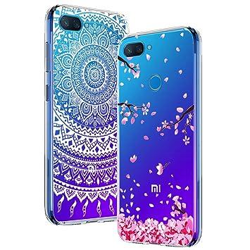 Yoowei [2-Pack] Funda para Xiaomi Mi 8 Lite, Transparente con Dibujos Ultra Fino Suave TPU Silicona Protector Carcasa para Xiaomi Mi 8 Lite (Flores de ...