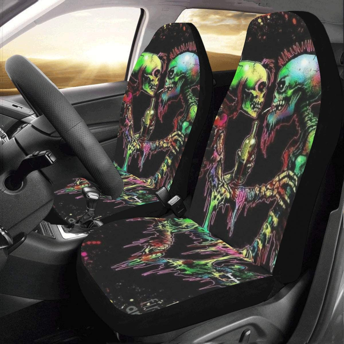 2pcs 3D Skull Car Front Seat Covers Full Cover Seat Back Head Rest Protector