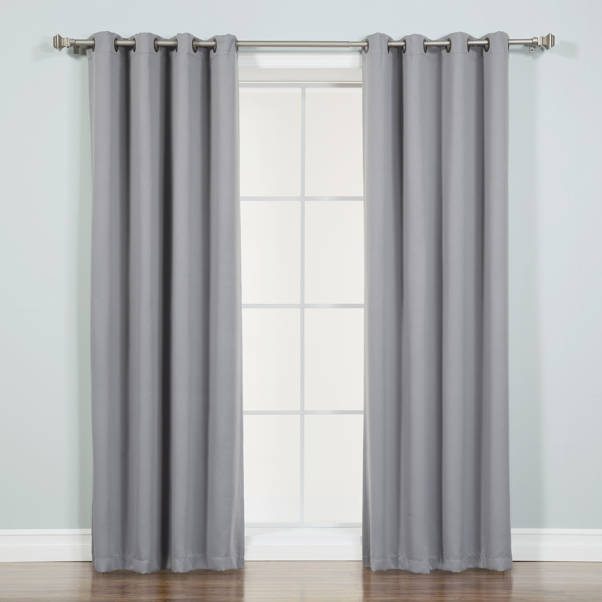 Best Home Fashion Thermal Insulated Blackout Curtains - Antique Bronze Grommet Top - Grey - 52'' W x 72'' L - (Set of 2 Panels)