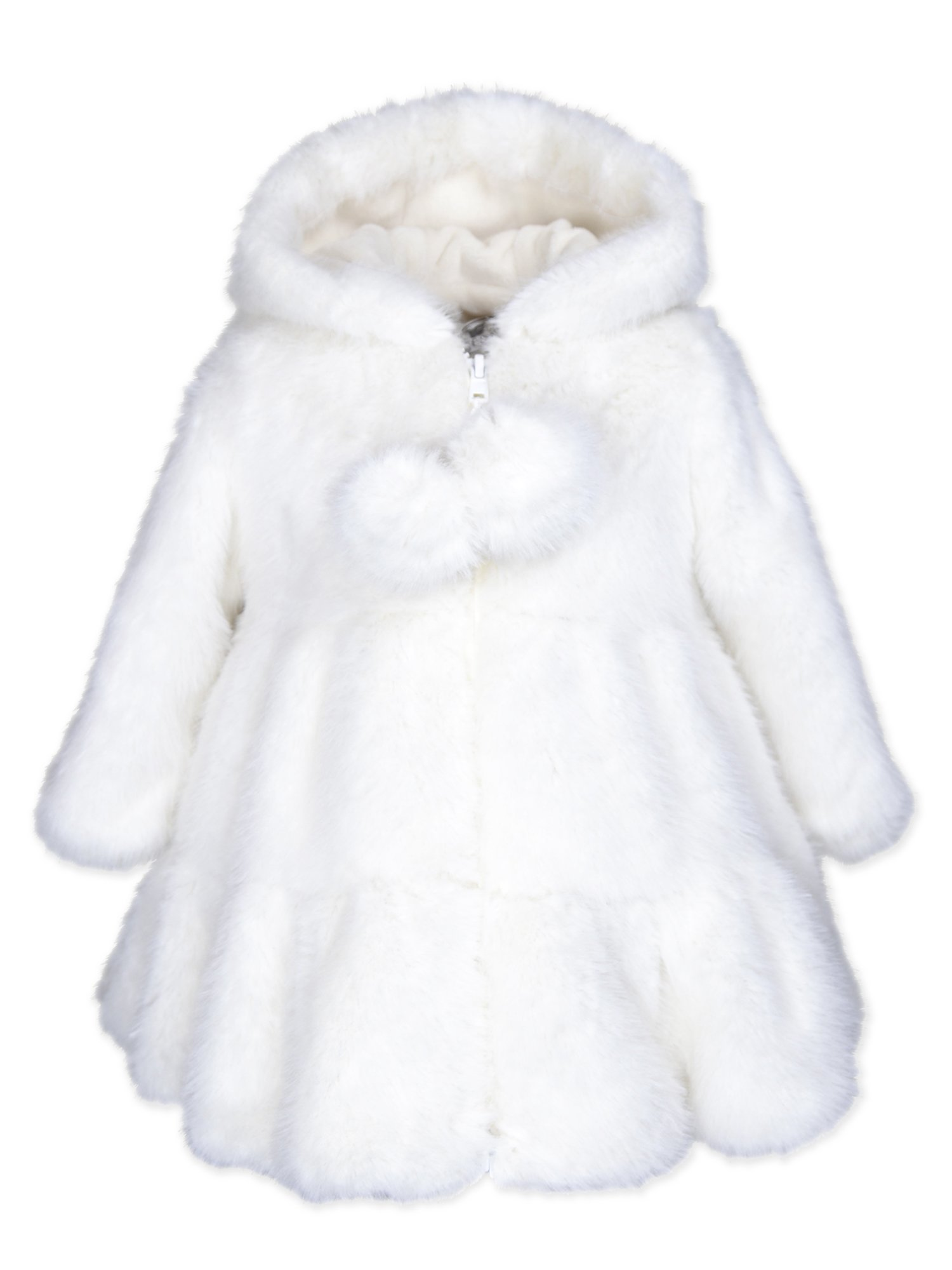 Widgeon Toddler Girls' Hooded Faux Fur Swing Coat 3674, Rbn/Snow Rabbit, 24 Months