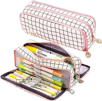 Estuche grande con triple compartimento para adolescentes y mujeres, Maomaoyu estuches para la escuela papelería, (entramado rosa): Amazon.es: Oficina y papelería