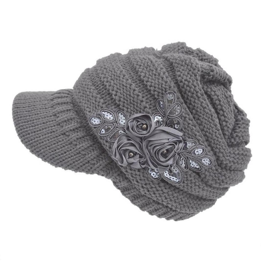 Women's Cable Knit Visor Hat with Flower Accent Gray