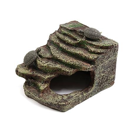 sourcingmap® Rampa Resina Tortuga Escalada Piedra Escalera Diseño Acuario Paisaje De La Decoración Tamaño Pequeño