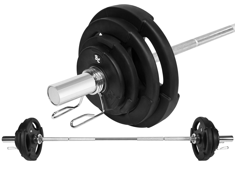 Oly. Gummi-Gripper Hantel-Set 50,5Kg (1 x Oly. Langhantelstange 168cm, 2x1,25, 2x2,5, 2x5 und 2x10Kg Hantelscheiben) Gewichte Hanteln