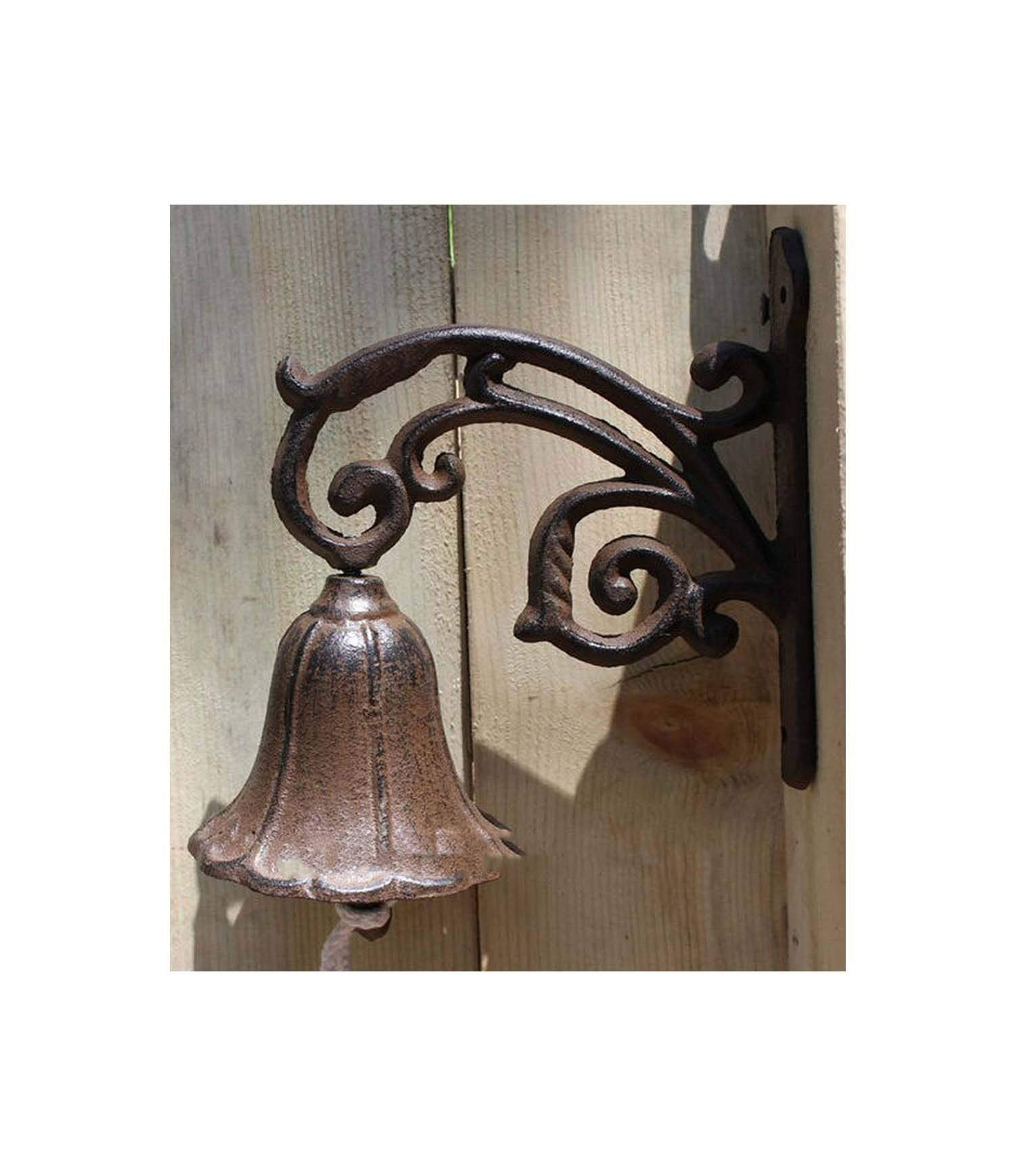 Country Rustic Leaf Door Bell Welcome Dinner Bell Cast Iron Wall Decorative Bell for Home Bar Shop Store Antirustping
