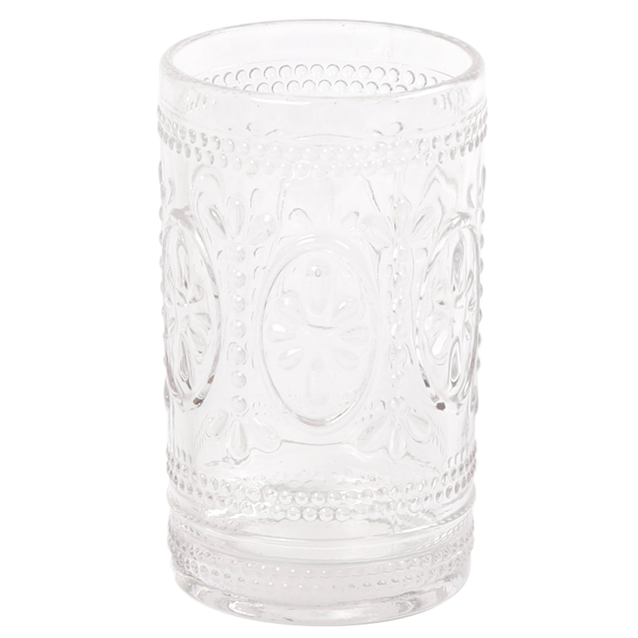 Creative Home Floral Scroll Tradition Clear Glass Bath Set Tumbler, Toothbrush Holder, by Creative Home