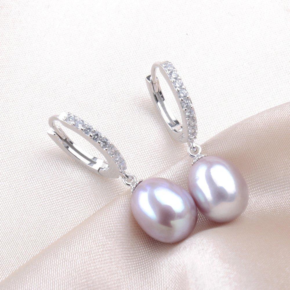 Schmuckbeutel Kim Johanson Damen Perlen Schmuckset *Susi* aus 925 Sterling Silber mit echten Lila S/ü/ßwasser Perlen Halskette /& Ohrringe inkl