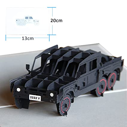 Dreamen Military Jeep Pop Up Cardscraft 3D Greeting Card For Kid Birthday Dad