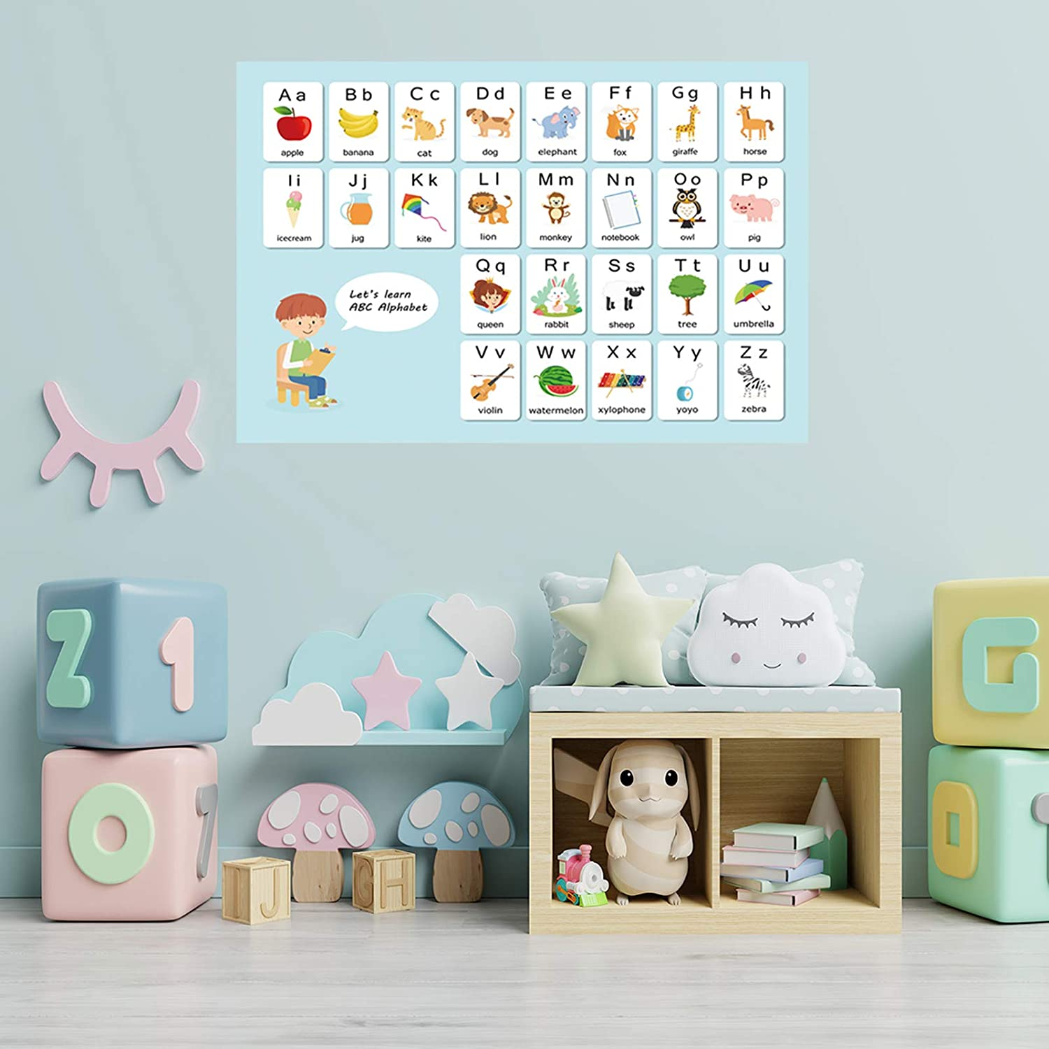 ABC Alphabet Kids Wall Decals, TANOKY Removable Educational Letters Wall Stickers, Eco-Friendly Peel and Stick Learning Wall Decals Art Decor for Kids Nursery Bedroom Living Room