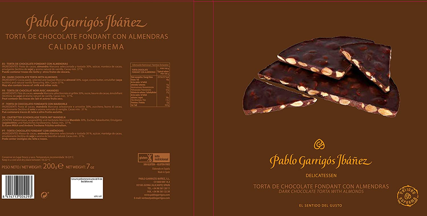 Amazon.com : Pablo Garrigós Ibáñez Delicatessen Torta Dark Chocolate with Marcona Almonds (Torta Chocolate Fondant con Almendras) 7 oz (200 grams) (Pack of ...