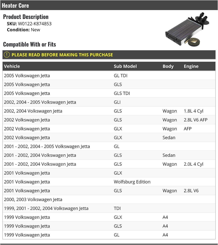 Heater Core Compatible with 1999-2005 Volkswagen Jetta