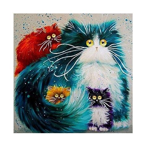 Kit de pintura con patrón de gatos 5D, bordado, punto de cruz, para