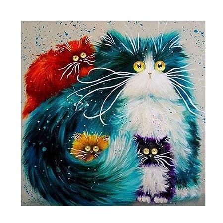 Kit de pintura con patrón de gatos 5D, bordado, punto de cruz, para arte y manualidades, de display08