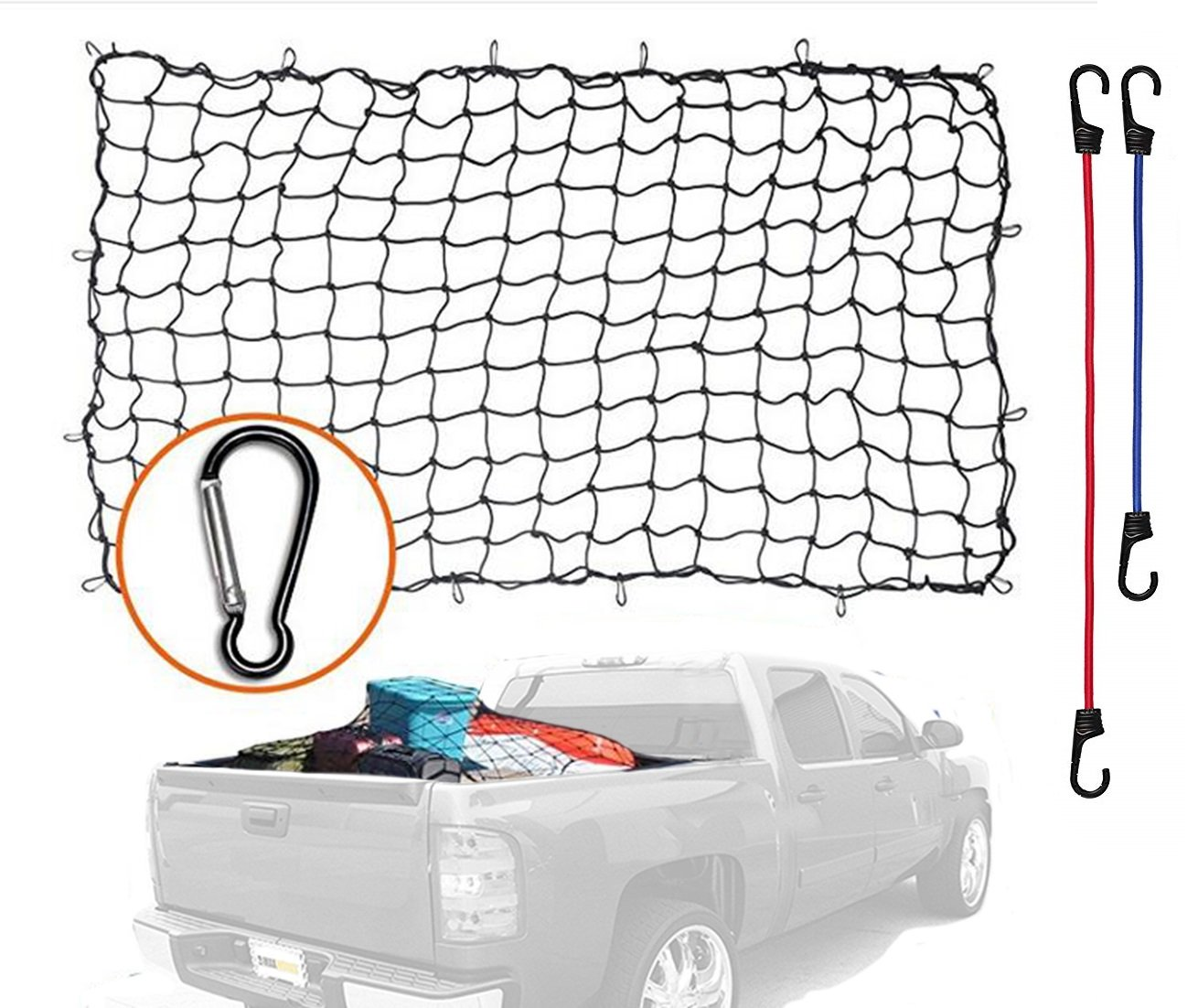 4'x6' Super Duty Bungee Cargo Net Stretches to 8'x12' | 12 Tangle-Free D Clip Carabiners | 2 Premium Plastic Coated Metal Hooks for 18 and 24 Inches| for Rooftop Cargo Carrier, ATV, UTV, Cargo Hitc AYAOQIANG