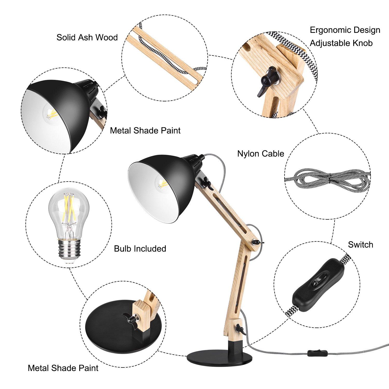 Lampadina Inclusa E27 7W LED 720 Lm Viugreum- Lampada da Tavolo in Legno Regolabile Lampada da Scrivania Design Moderno NON TREMA Frassino Chiaro Cavo 1,60m Altezza 55 Cm Nera