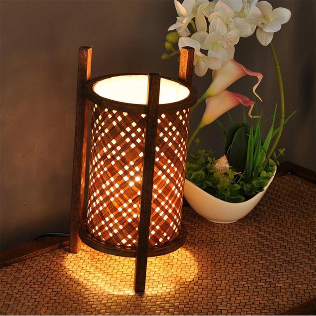 ELEGENCE-Z Tischleuchte SüDostasien Home Thai Stil Hotelbedarf Home Kreatives Bambus Handgemäßhtes Warmes Licht Einfaches Retro Holz