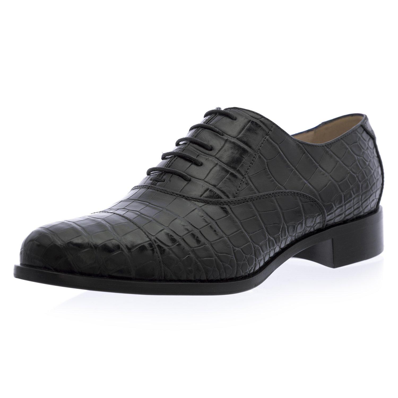Giorgio Armani Women's Croc Embossed Leather Oxfords 10 Black