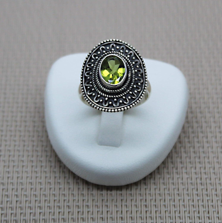 Anillo Plata Natural Piedra Verde. Anillo de plata peridoto. Anillo de plata mujer