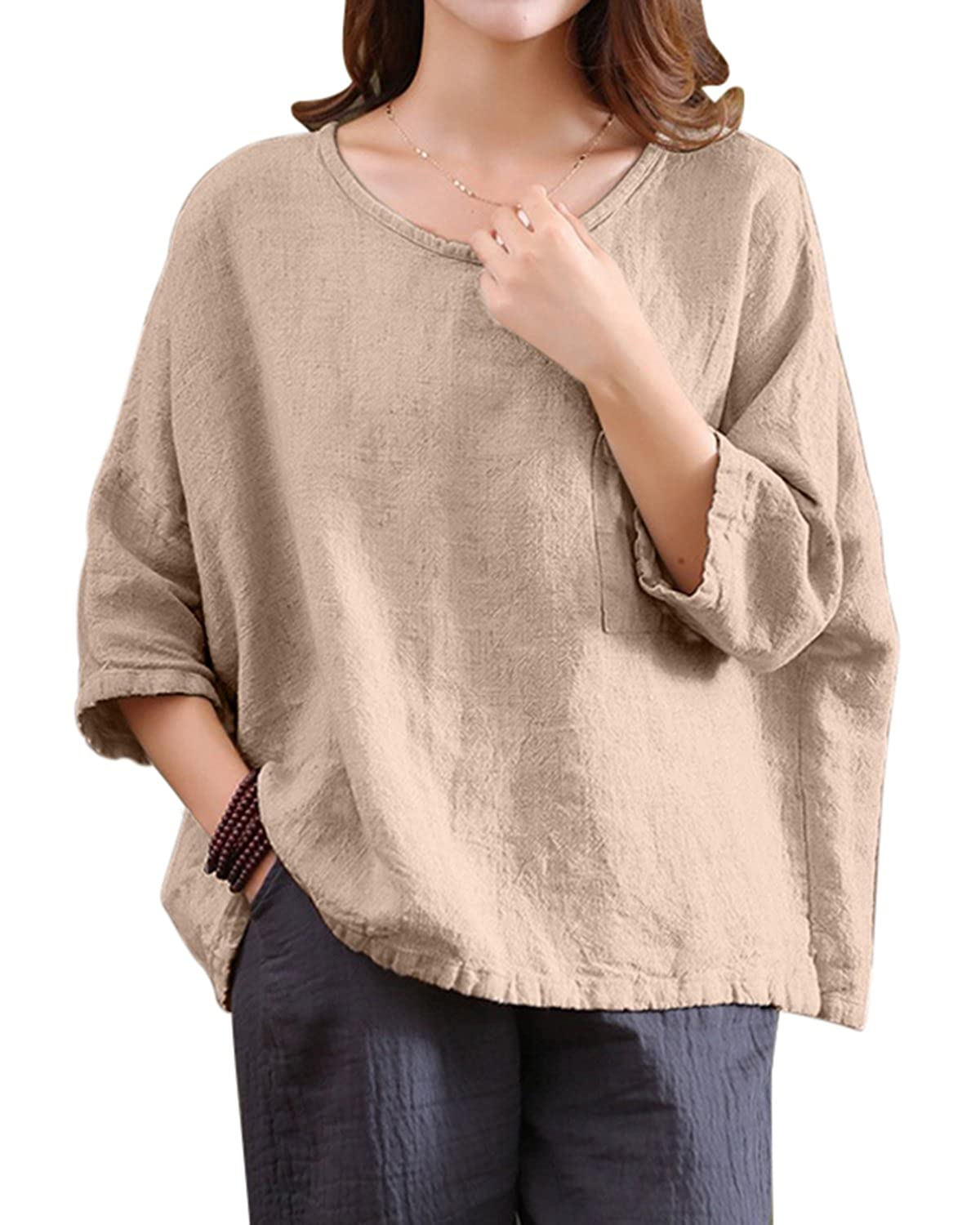 26e55f4a8f Features---Loose,3/4 Batwing Sleeve,Crewneck,Vintage,Plus size,Oversized ☆  Nice Style---This is a quite baggy loose blouse,fits for any kinds of body  shape ...