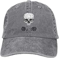 BAOG Skull Roses Outdoor Dad Hat Adjustable Washed Denim Caps Baseball Cap