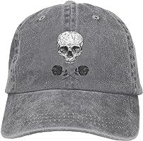 BAOG Skull Roses Outdoor Dad Hat Adjustable Washed Denim Caps Baseball Cap