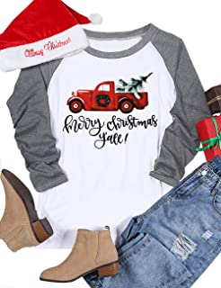 ffa37ab0652 Merry Christmas Y all Shirt Women 3 4 Sleeve Cute Christmas Graphic Raglan  Baseball