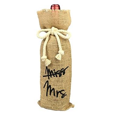 OYAMIHUI Vintage Wedding Gift Wine Bottle Cover, from Miss to Mrs Bridal Shower Decoration, Engagement Gift Burlap Wine Bag (from Miss to Mrs)