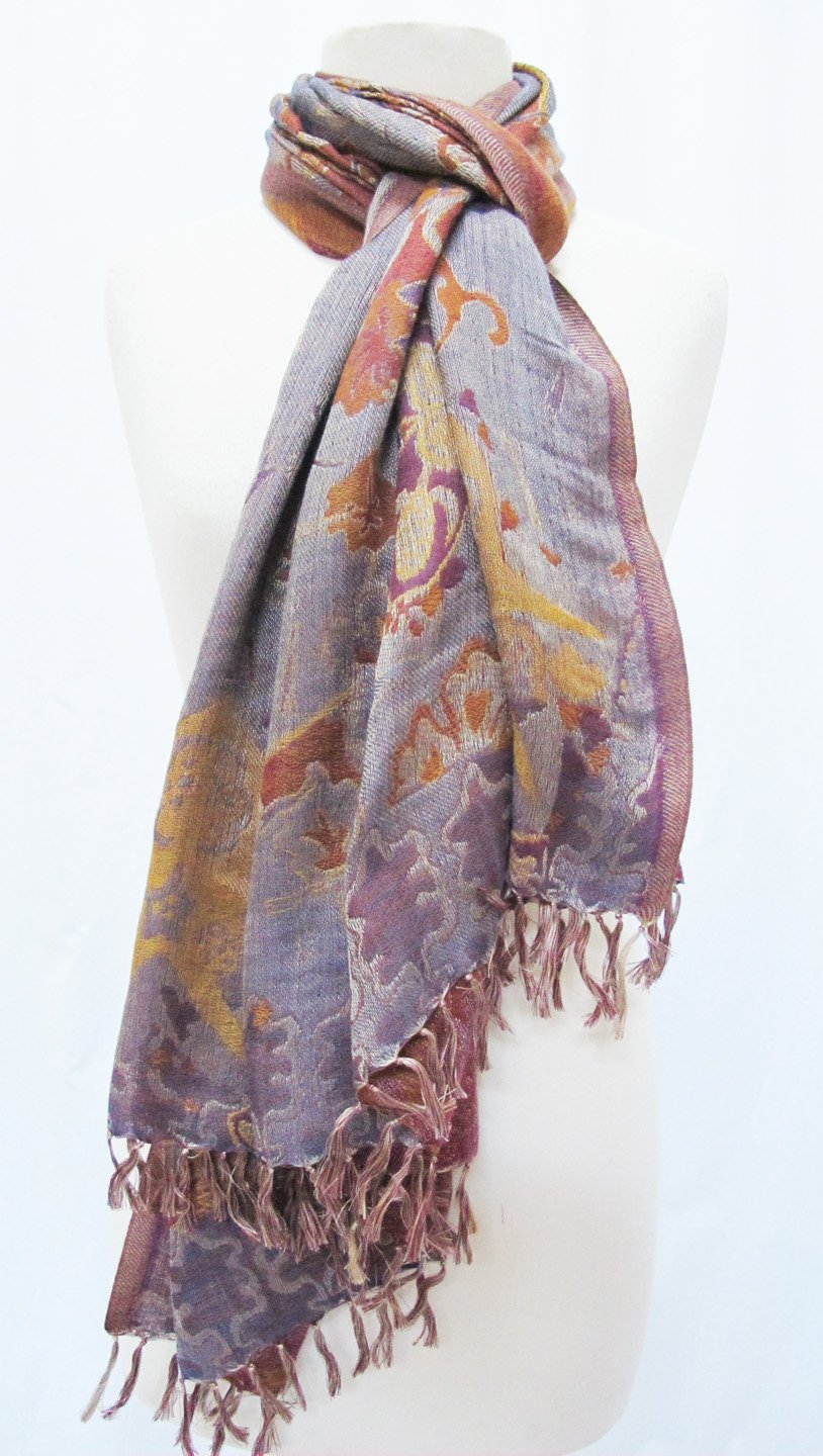 ''Misty Floral'' Silk Merino Wool Shawl Stole Scarf Wrap Purple Copper by Ashiana (Image #6)